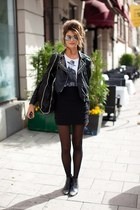 black Internet boots - black unknown blazer - black American Apparel tights
