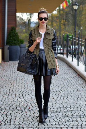 black vagabond boots - army green Chicwish jacket - black Celine bag