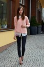 black Topshop jeans - peach Choies sweater - off white Choies bag