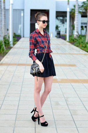 black Rebecca Minkoff bag - brick red Choies shirt