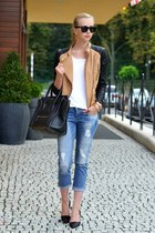 brown fake leather Sheinside jacket - blue Zara jeans - black Celine bag