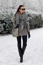 ivory reserved scarf - black Zara boots - black Topshop jeans