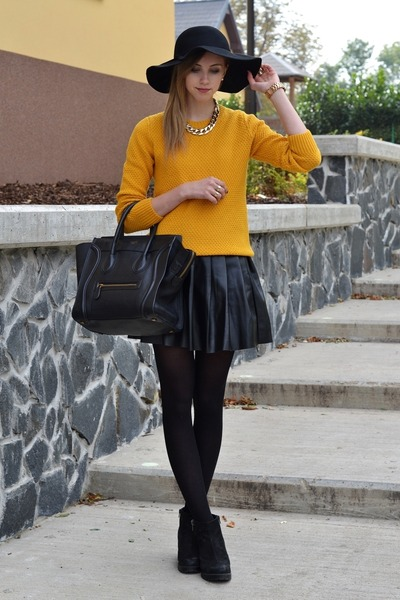 mustard Choies sweater - black vagabond boots - black Choies hat