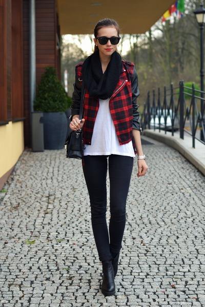 crimson JollyChic jacket - black Topshop jeans - black H&M scarf