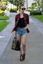 crimson Choies blouse - black Celine bag - navy Sheinside shorts