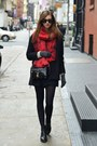 Black-vagabond-boots-black-choies-coat-ruby-red-h-m-scarf