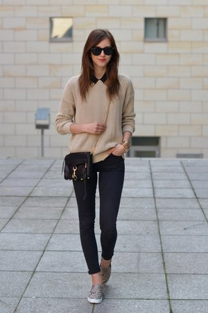 black Topshop jeans - beige American Apparel sweater - black Rebecca Minkoff bag