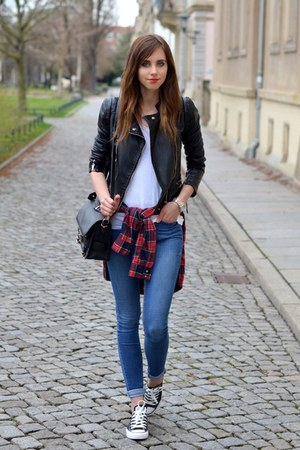 white Topshop shirt - brick red Choies shirt - blue Topshop jeans