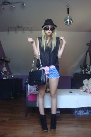 navy romwe shorts - black Topshop boots - black Topshop hat - black Chanel bag
