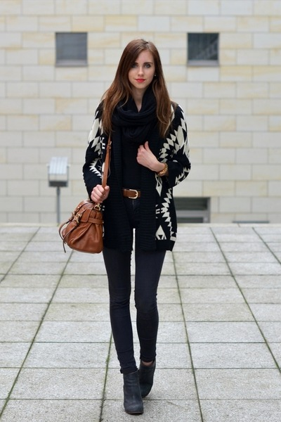 black Topshop jeans - charcoal gray Jeffrey Campbell boots