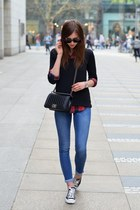 black Zara sweater - blue Topshop jeans - brick red Choies shirt