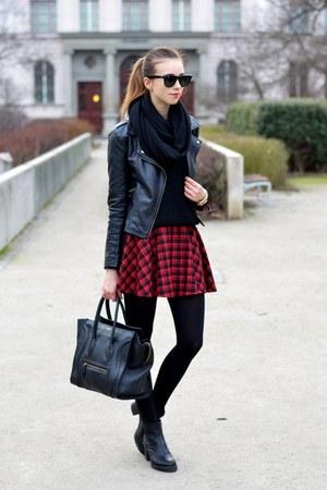 black vagabond boots - black Sheinside jacket - black H&M tights