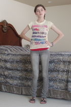 yellow kira plastinina top - red Wetseal top - gray jeans - black Forever 21 sho
