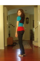 blue cardigan - red Tank top top - black jeans - brown Wetseal shoes