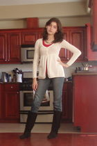 white American Eagle sweater - red Wetseal top - blue jeans - black Steve Madden