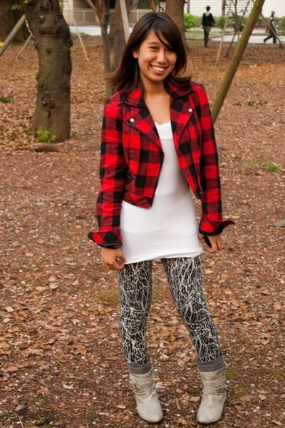 red Forever21 jacket - white Forever21 top - black the ramp crossings leggings -
