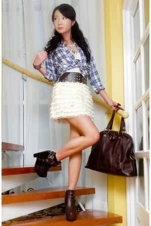 blue British India shirt - white random skirt - brown soule boots - brown YSL pu