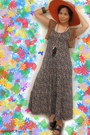 navy H&M dress - carrot orange straw hat vintage hat - brown crochet homemade ve