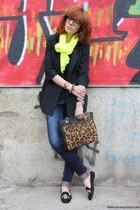 neon Pull and Bear scarf - Musette shoes - mens style Capasca coat - Zara jeans
