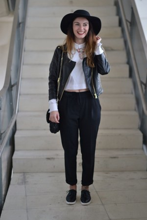 black H&M hat - black Zara pants