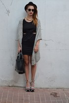 black H&M dress - black H&M hat - black Primark bag - black Zara sandals