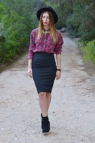 black Stradivarius boots - Zara hat - brick red H&M shirt - black Zara skirt