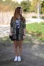 Green-zara-shirt-white-converse-sneakers-black-h-m-skirt