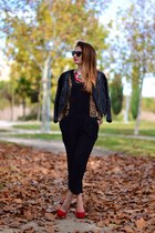 black H&M jacket - red Bershka shoes - black Zara pants