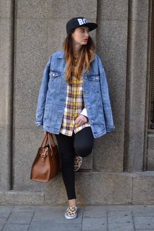blue Zara jacket - white H&M shirt - brown Michael Kors bag