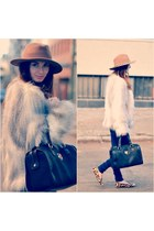 silver H&M coat - black BLANCO bag - burnt orange Jessica Simpson flats