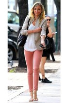 beige blazer - white blouse - pink pants