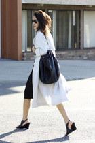 leather bucket Zara bag - basic wilfred dress - H&M coat