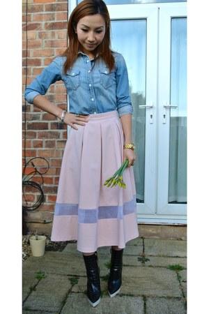 Topshop skirt - Stella McCartney boots - Gap shirt