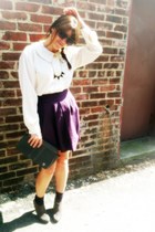 purple pleated Gap skirt - gray suede Mossimo boots