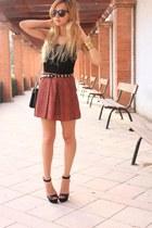 ruby red Mango skirt - black Zara bag - black Zara belt - black Zara sandals