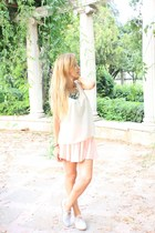 ivory OASAP skirt - light blue French Connection shoes - ivory H&M top