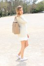 White-zara-skirt-ivory-mango-sweater-silver-tous-ring