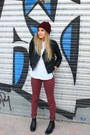 Black-asos-jacket-brick-red-zara-hat-white-zara-shirt