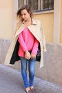 Sky-blue-zara-jeans-camel-la-redoute-coat-bubble-gum-zara-sweater