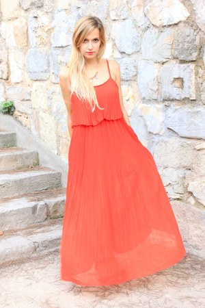 red OASAP dress - black Mango sandals - bronze H&M necklace
