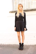 black Zara shirt - black Zara skirt - black Miss Kg sandals