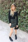 Olive-green-zara-skirt-black-zara-top