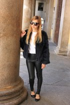 navy Zara coat - white Zara top - black Zara pants - black Zara flats