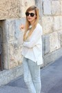 White-zara-sweater-light-blue-mango-jeans-black-zara-sandals