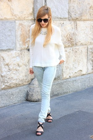 white Zara sweater - light blue Mango jeans - black Zara sandals
