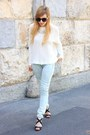 Light-blue-mango-jeans-white-zara-sweater-black-zara-sandals
