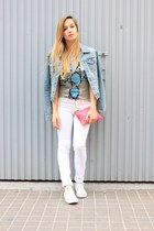 light blue H&M jacket - white Mango jeans - bubble gum Zara bag