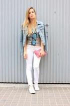 light blue H&M jacket - white Mango jeans - bubble gum Zara bag