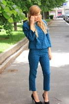 black Zara shoes - blue asos suit - silver Pandora ring