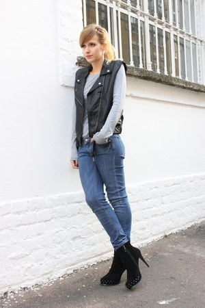 black H&amp;M vest - black Mango boots - blue H&amp;M jeans - heather gray H&amp;M top